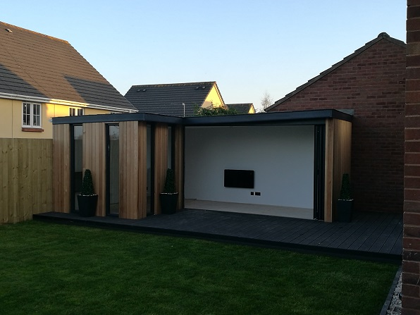 Garden office with bi folding doors